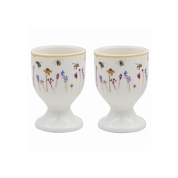 Super Cute Set Of 2 Floral Busy Bumble Bee Egg Cup