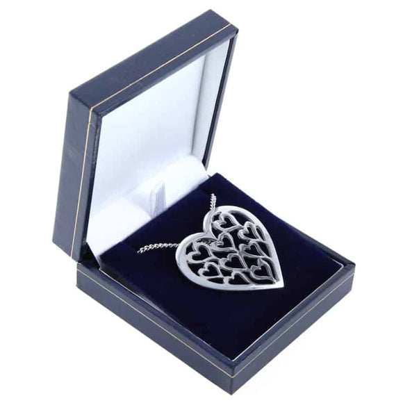 Stunning Large Love Heart Polished Pewter Pendant & Chain