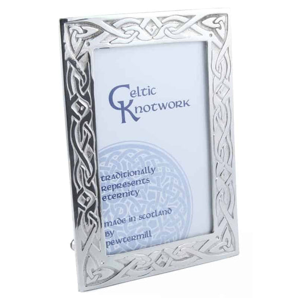 Stunning Medium Celtic Knotwork Polished Pewter Scottish Picture Frame