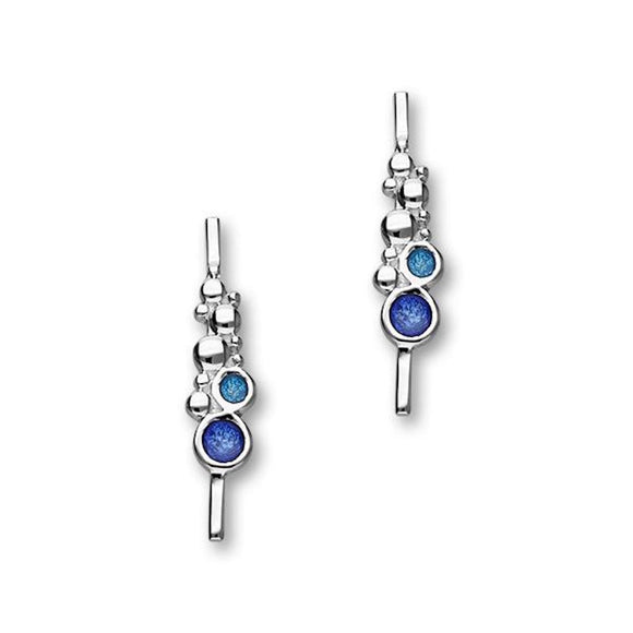 Ortak Dröfn Sterling Silver & Blue Enamel Bar Drop Earrings