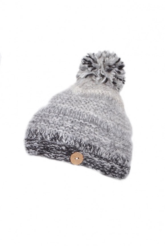 Sustainable Fair Trade Sierra Nevada Smoke Grey Natural Wool Bobble Beanie Hat