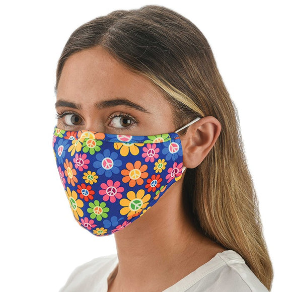 Snoozies! MultiColour Peace Flower Adult Adjustable Reusable Face Mask