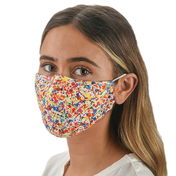 Snoozies! Multi Colour Splatter Print Unisex Adjustable Reusable Face Mask
