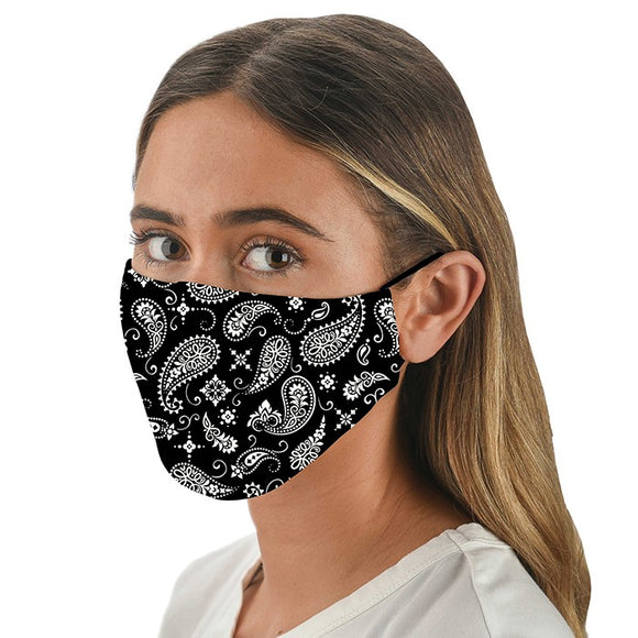 Snoozies! Black Paisley Print Adult Adjustable Reusable Face Mask