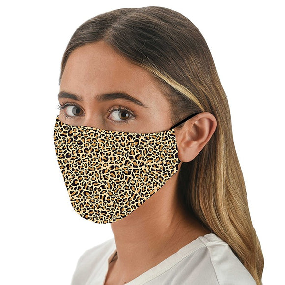 Snoozies! Leopard Print Adult Adjustable Washable Reusable Face Mask Covering