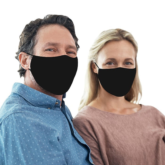 Snoozies! Plain Black Adult Adjustable Reusable Face Mask