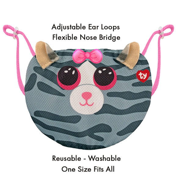 TY Beanie Boo Chidrens Face Mask - Kiki the Striped Gray Cat