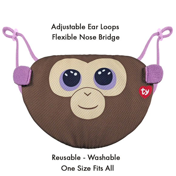 TY Beanie Boo Chidrens Face Mask - Coconut the Monkey