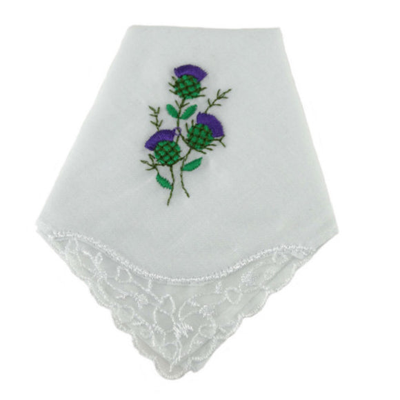 100% White Cotton Ladies Handkerchief with Scottish Thistle Embroidery