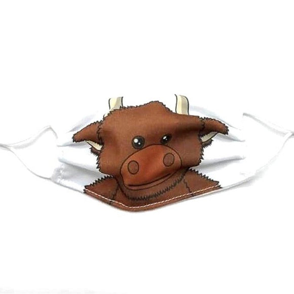 Jomanda Childrens Pack of 2 Reusable Washable Scottish Highland Cow Coo Face Mask Covering