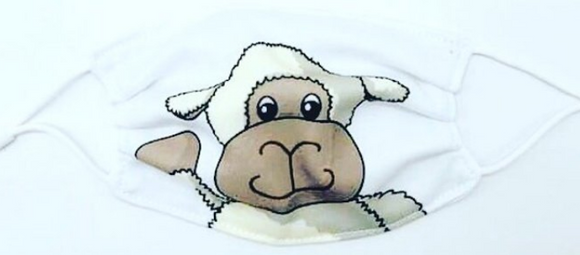 Jomanda Childrens Pack Of 2 Reusable Washable Super Cute Sheep Lamb Face Mask Covering