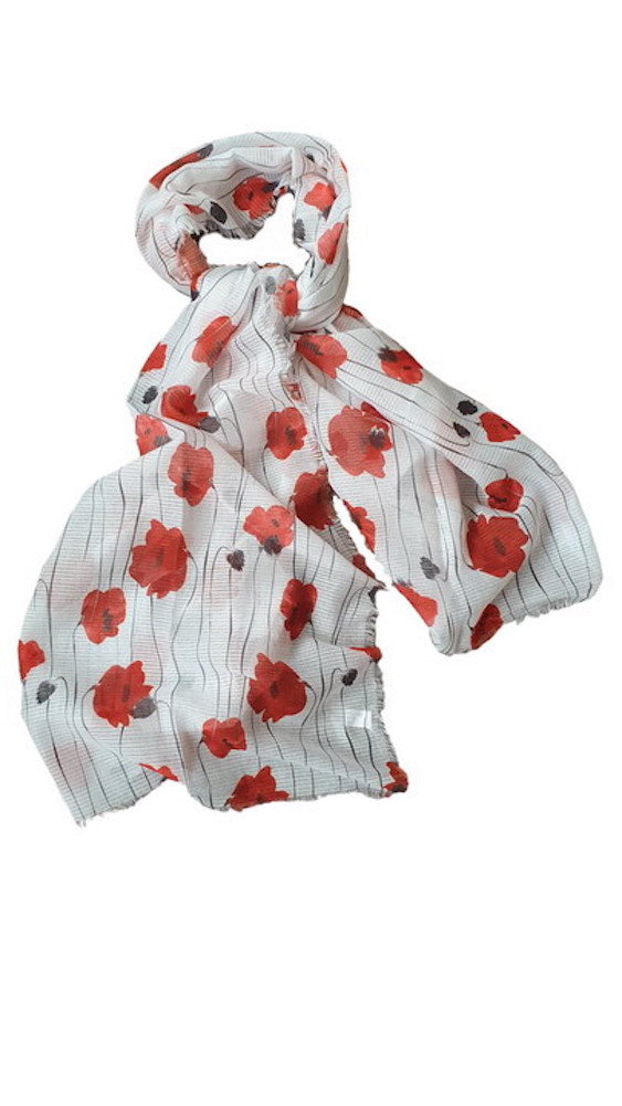 Alexander Thurlow Full Length White and Red Poppy Twilled Polyester Scarf