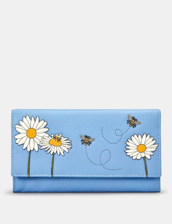 Yoshi Blue Leather Flap Over Buzzy Bumble Bee Ladies Purse Wallet