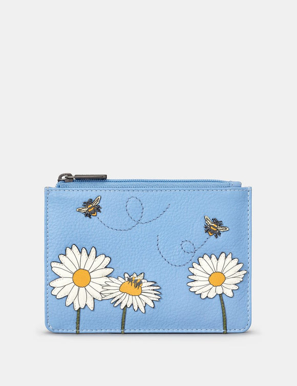 Yoshi Blue Leather Zip Top Buzzy Bumble Bee Ladies Purse Wallet