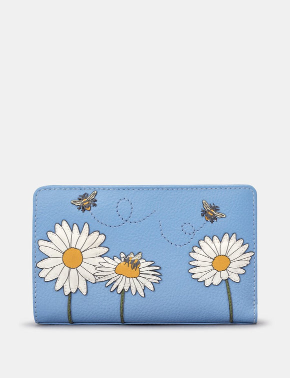Yoshi Blue Leather Buzzy Bumble Bee Happy Leather Ladies Flap Over Zip Round Purse Wallet