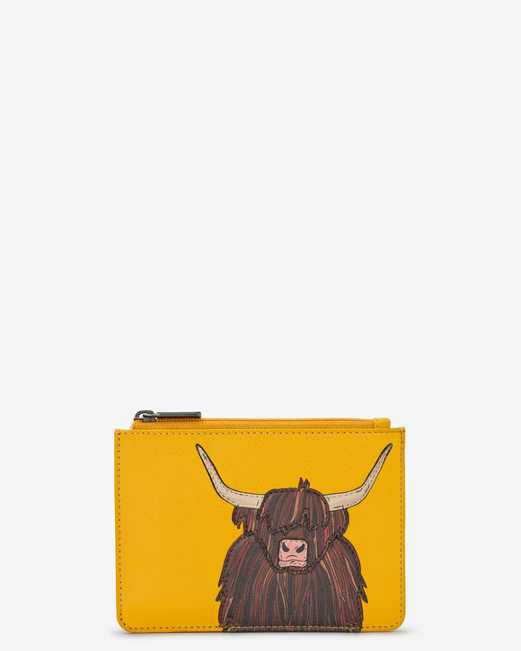 Yoshi Mustard Yellow Leather Scottish Highland Cow Coo RFID Protection Zip Top Purse Wallet