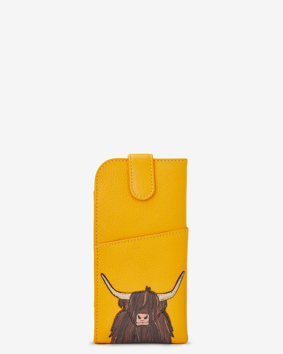 Yoshi Mustard Yellow Leather Scottish Highland Cow Coo Glasses Specs Case