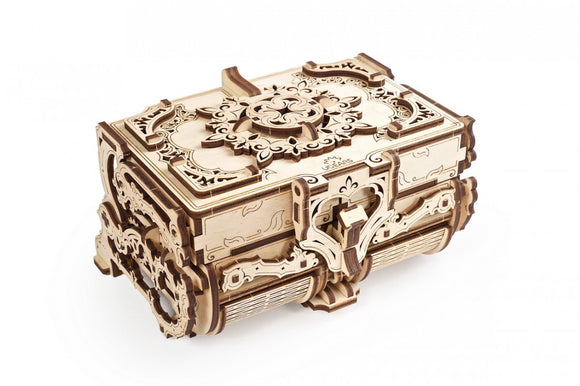Ugears Mechanical Delicate Detail Antique Treasure Storage Box Wooden Model Construction Kit