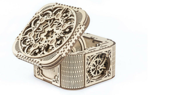Ugears Delicate Detail Antique Treasure Storage Box Wooden Model Construction Kit