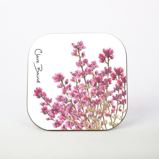 Clare Baird Pretty Pink Scottish Highland Heather Coaster Table Mat