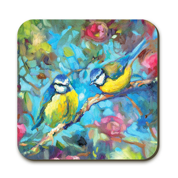 Wraptious Sue Gardner Bluebirds & Blossom Coaster Table Mat