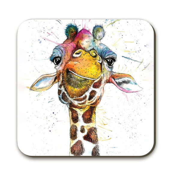Wraptious Katherine Williams Splatter Coaster Rainbow Giraffe Table Mat