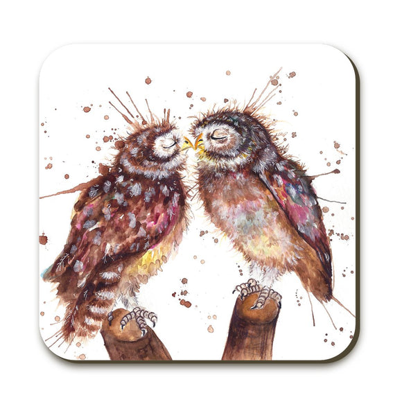 Wraptious Katherine Williams Splatter Loved Up Owl Coaster Table Mat