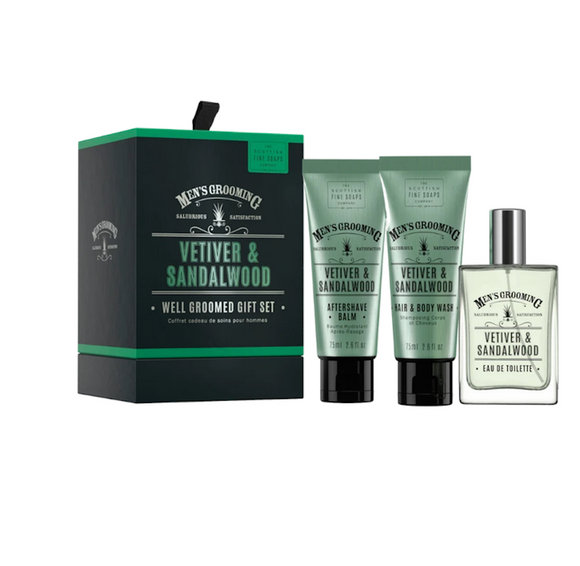Scottish Soap Men's Grooming Vetiver & Sandalwood Well Groomed Gift Set Aftershave, Balm, Hair And Body Wash