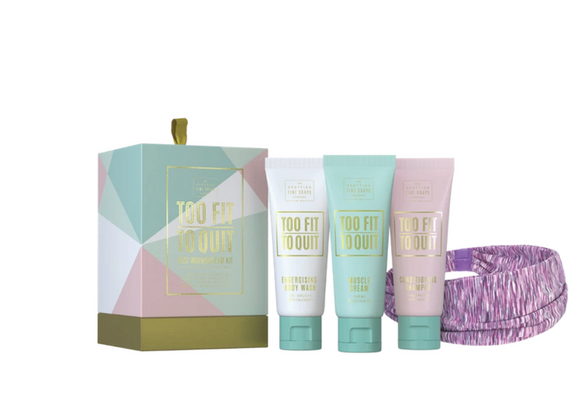 Scottish Soap Too Fit To Quit - Post Workout Gym Headband, Body Wash, Shampoo, Muscle Cream Set