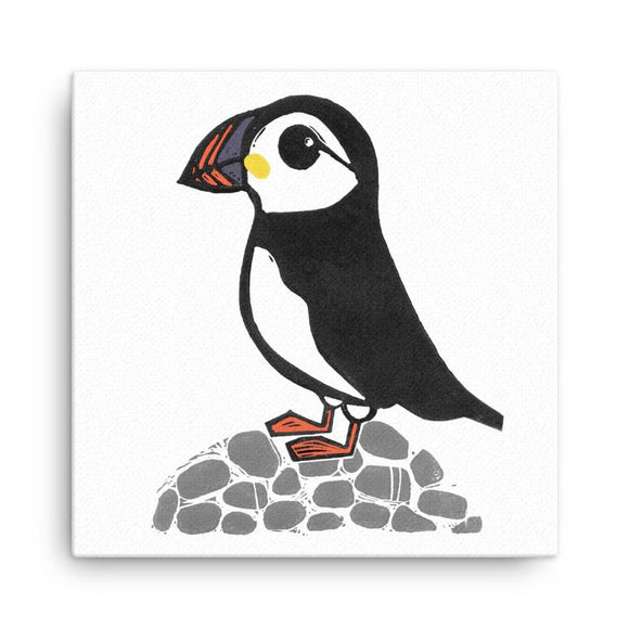 Wraptious Bells Scambler Scottish Puffin On Rocks Mini Canvas