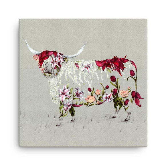 Wraptious Kat Baxter Rustic Bonnie Floral Scottish Highland Cow Coo Mini Canvas