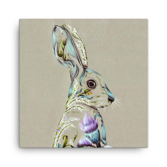 Wraptious Kat Baxter Floral Rustic Hare Mini Canvas