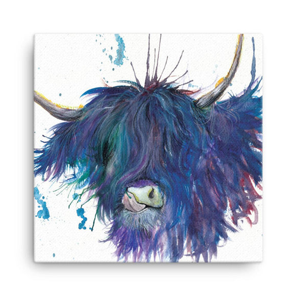 Wraptious Katherine Williams Splatter Blue Scruffy Scottish Highland Cow Coo Mini Canvas