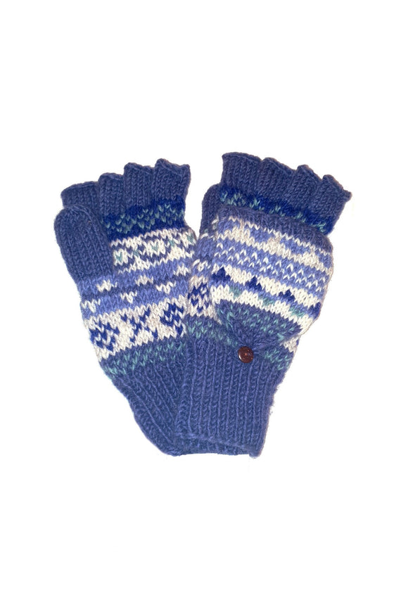 Sustainable Fair Trade Finisterre Natural Wool Glove / Mittens Denim Blue