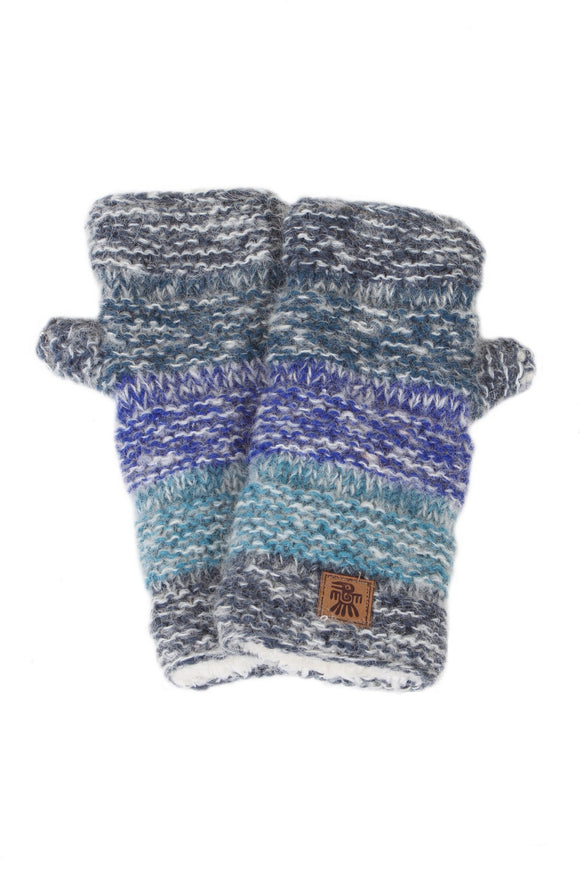 Sustainable Fair Trade Sierra Nevada Denim Blue Handwarmers Natural Wool