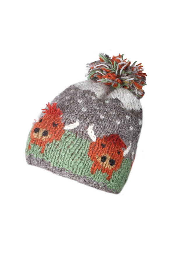 Sustainable Fair Trade Herd of Highland Cow Natural Wool Bobble Beanie Hat