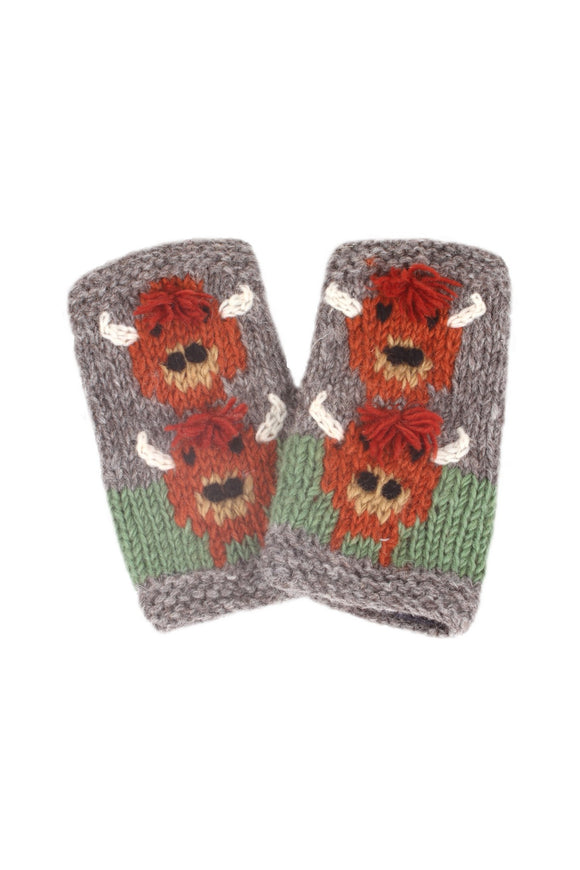Sustainable Fair Trade Herd of Highland Cow Natural Wool Handwarmer