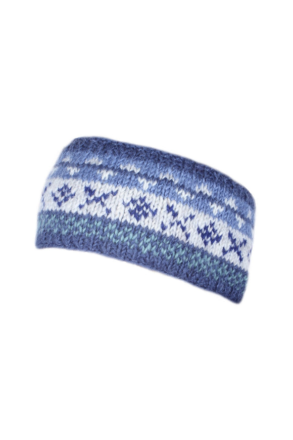 Sustainable Fair Trade Finisterre Headband Natural Wool Denim Blue