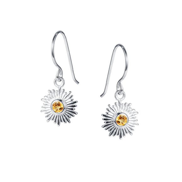 Christin Ranger Sterling Silver and November Birthstone Citrine Sun Earrings