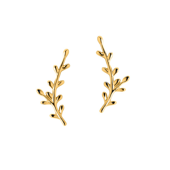Christin Ranger 18 Carat Gold Plated Sterling Silver Leaf Ear Climber Earring