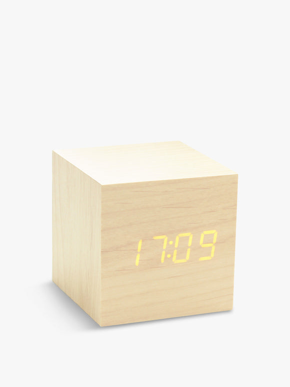 Gingko Light Brown Maple With LED Dispay Square Cube Click Touch Travel Clock