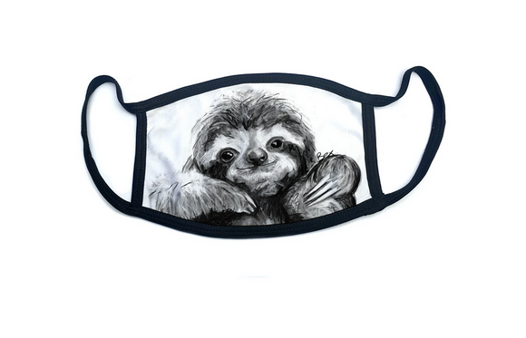 Wraptious Bex Williams Black and White Smiling Sloth Adult Face Mask