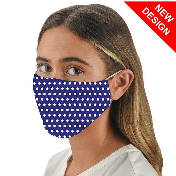 Snoozies! Blue Spot Dotty Marine Print Adult Adjustable Washable Reusable Face Mask Covering