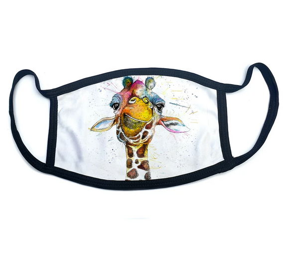 Wraptious Katherine Williams Splatter Rainbow Giraffe Adult Face Mask