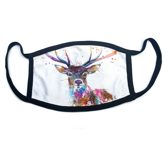 Wraptious Katherine Williams Splatter Rainbow Scottish Highland Stag Adult Face Mask