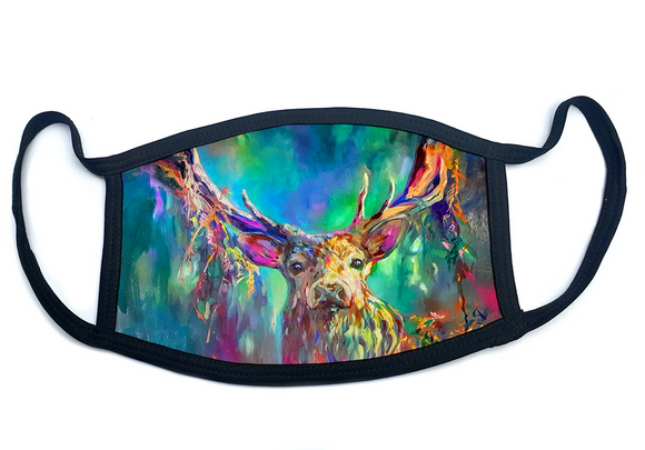 Wraptious Sue Gardner Colourful Woodland Highland Stag Adult Face Mask