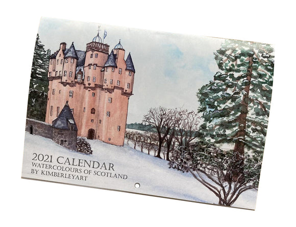 Kimberly Art Hand Painted Watercolour Scotland Calendar 2021