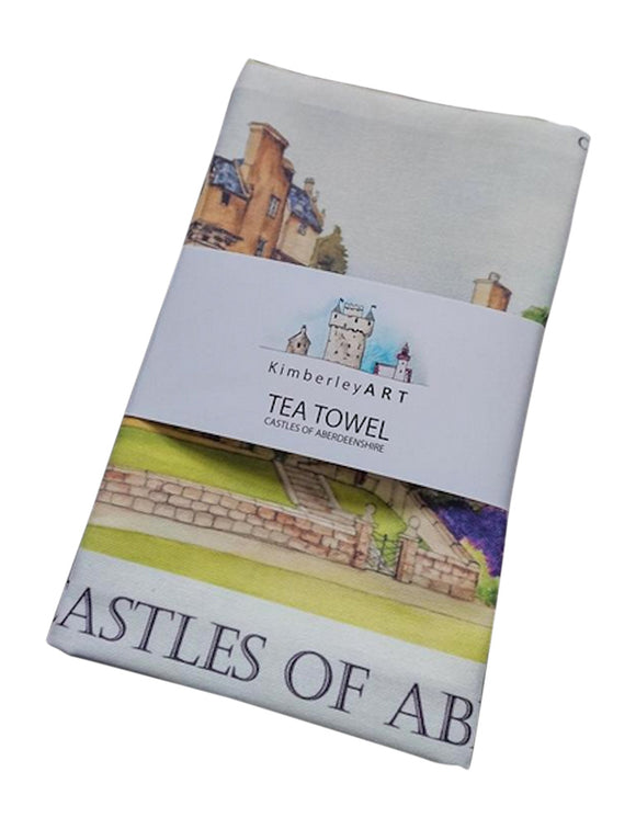 Kimberly Art Castles Of Aberdeenshire Hand Painted Watercolour Art Tea Towel