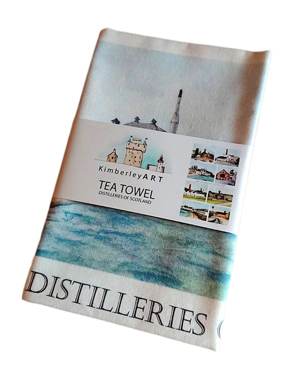 Kimberly Art Distilleries Of Scotland Hand Painted Watercolour Art Tea Towel