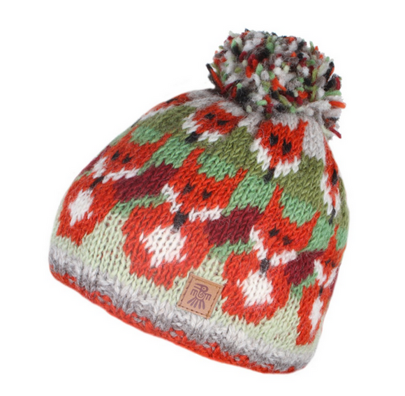 Sustainable Fair Trade Skulk Of Foxes Natural Wool Bobble Beanie Hat